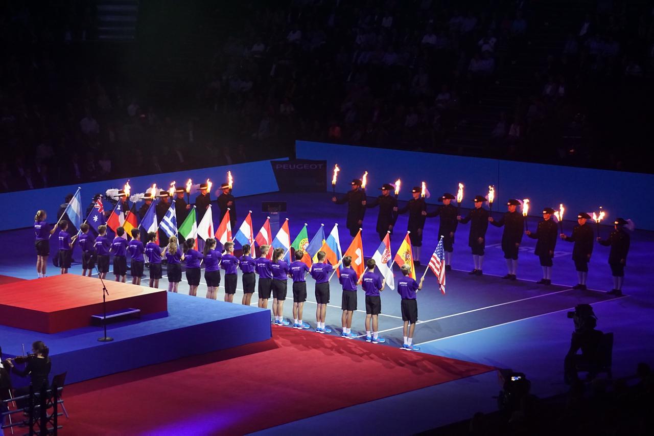 スイス・インドア2018 テニス オープニングセレモニー スーパーマンデー(Super Monday) 国旗掲揚